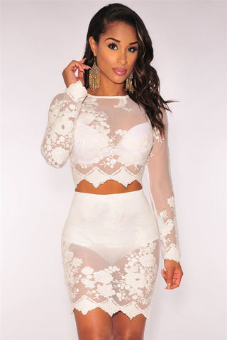 White HerFashion Sheer Embroidered Panty Lined Skirt Set