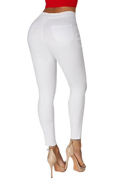 Grey Her Fashion High Waist Skinny Fitted Jeans with Round Pockets