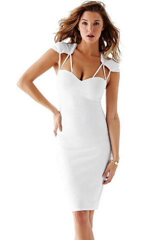 White Hollow Out Sexy Strappy Cutout Backless Slim Midi Dress