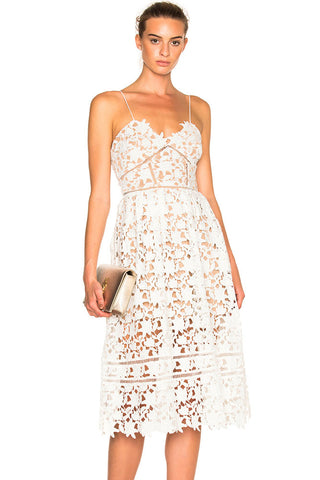 White Lace Hollow Out Nude Illusion Her Fashion Party Midi Dress