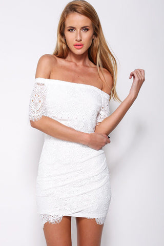 White Lace Surcoat Off-shoulder Mini Dress