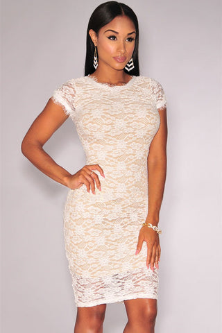 White Lavish Lace Round Neckline Dress