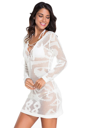 White Long Sleeve Knitted Her Fashion Beachwear