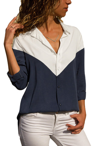 White Navy Color Block Relaxed Tailored Silhouette Shirt