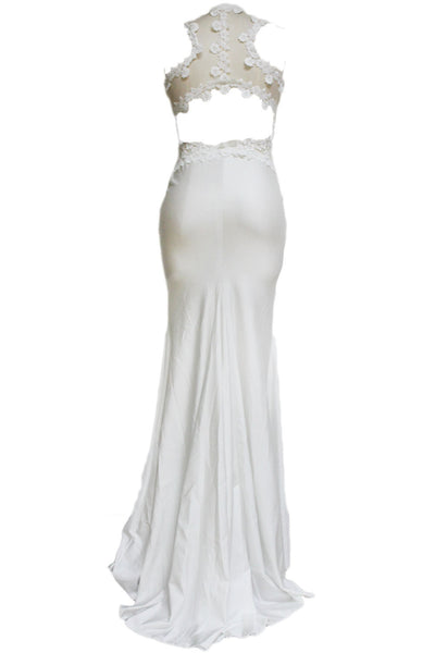 White Open Back Fine Floral Appliques Maxi Wedding Gown