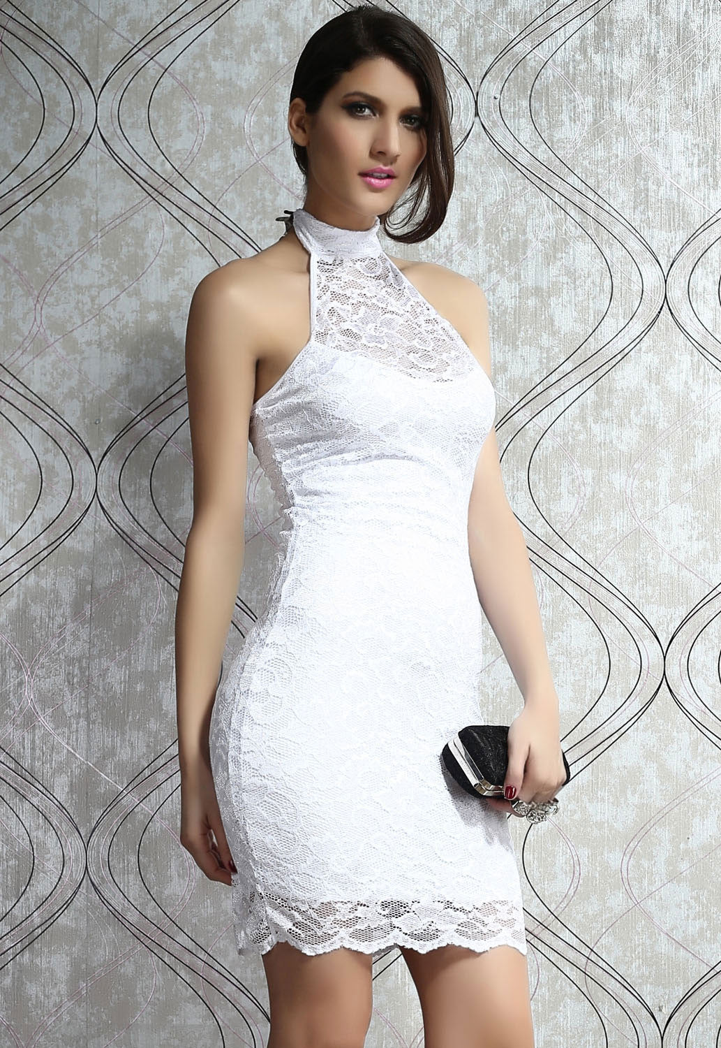 Open Back  Mock Neck Mini White Dress