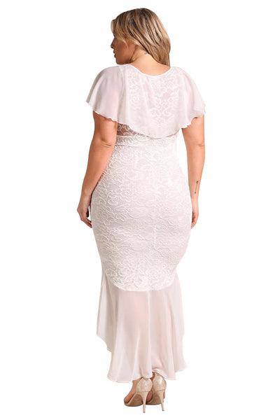 White PlusSize Chiffon Lace Waterfall Ruffle BIG'n'TRENDY Midi Dress