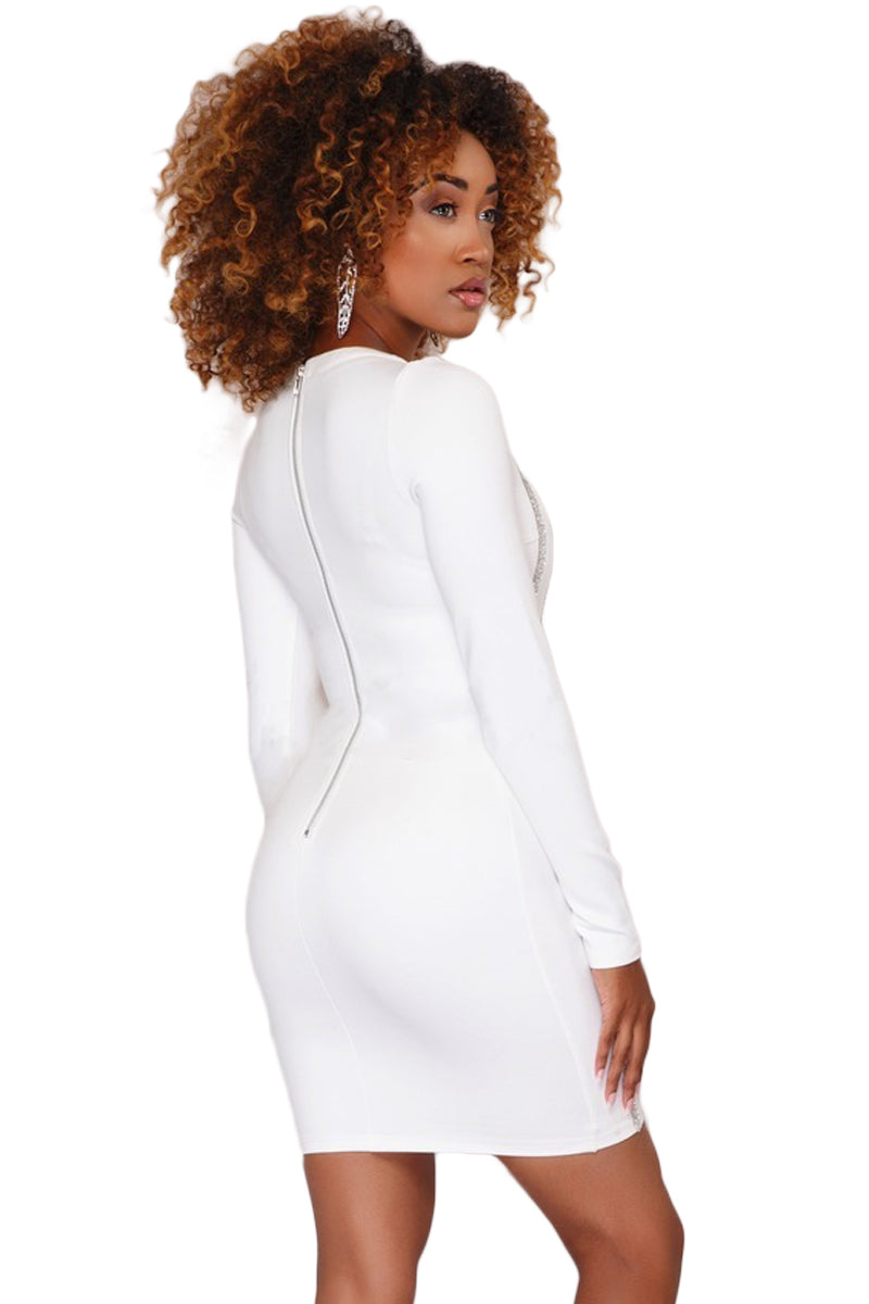 White Rhinestone Embellished Her Fashion Bodycon Mini Dress