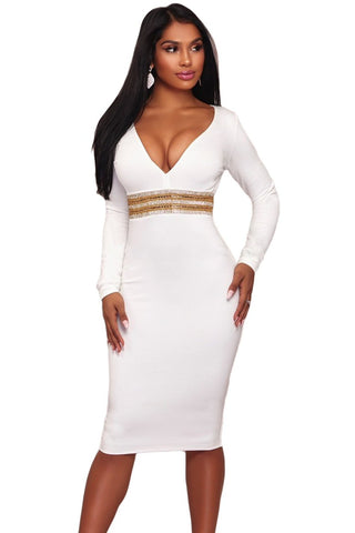 White Rhinestone Embellishment Bodycon Her Fashion Party Midi Dress
