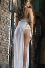 White Sexy Sheer Side Slits With Lace Cups Lingerie Gown