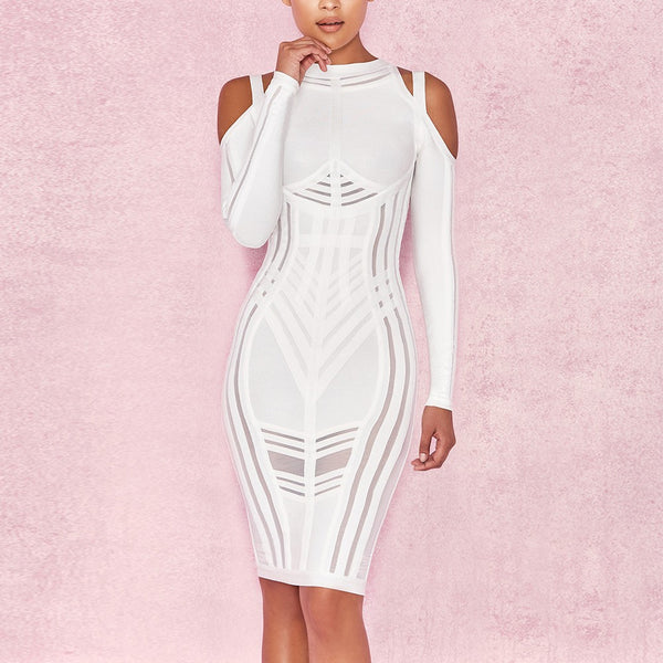 White Strappy Long Sleeve Mini Side Stripe Her Fashion Bandage Dress