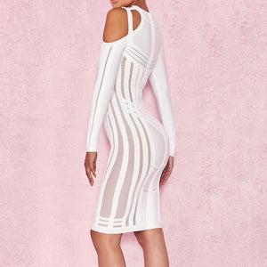 Burgundy Strappy Long Sleeve Mini Side Stripe Her Fashion Bandage Dress