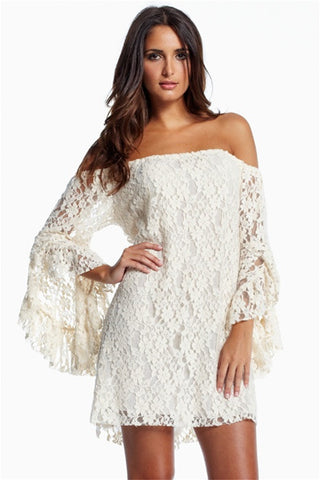 White Sweet Ruffled Sleeves Lace Mini Women Dress