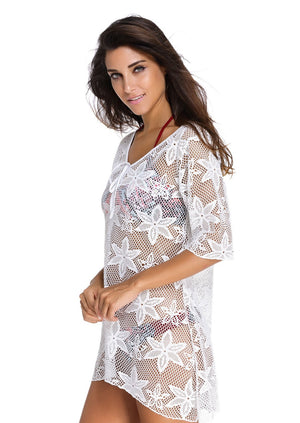 White Swim Crochet Kaftan Stylish Cover Up