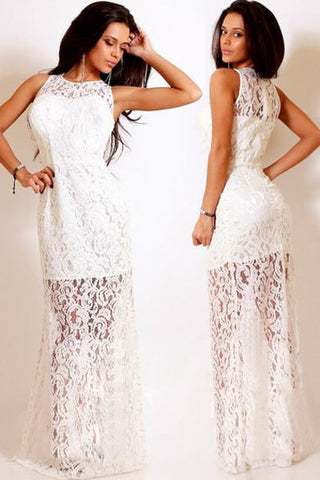 White Trendy Floral Lace Satin Patchwork Party Maxi Dress