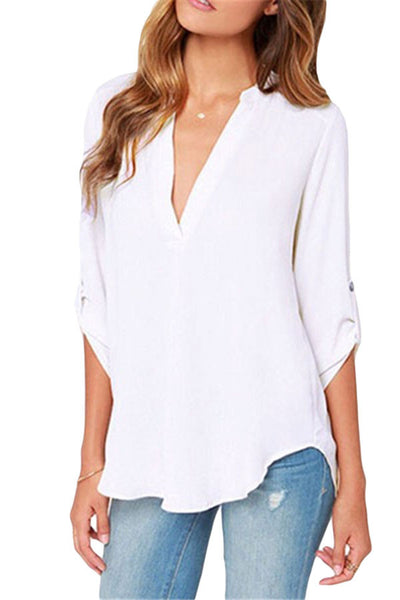 White V-sionary Trendy Women V Neck Chiffon Blouse Top