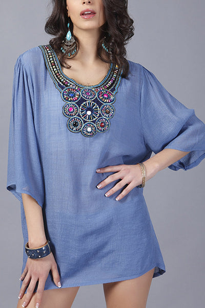 Denim Blue Beatnik Embroidery Beading Crepe Shirt