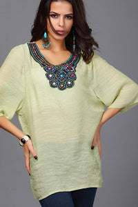 Yellowish  Beatnik Embroidery Beading Crepe Shirt