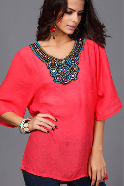 Red Beatnik Embroidery Beading Crepe Shirt