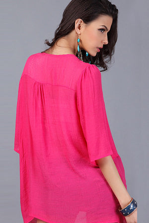 Rose Beatnik Embroidery Beading Crepe Shirt