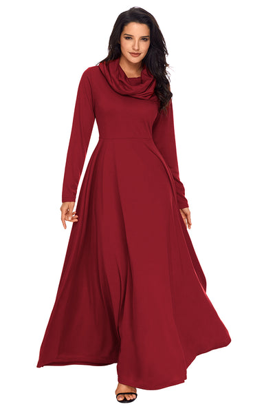 Her Fashion Red Turtleneck Neck Long Sleeve Trendy Maxi Dress