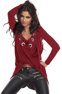 Wine Lace Up adjustable string Chic Pullover Shirt