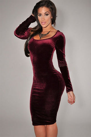 Wine Soft Velvet Stylish HerFashion Trendy Midi Dress