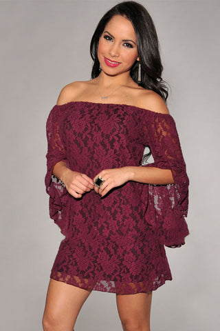 Wine Sweet Ruffled Sleeves Lace Mini Women Dress