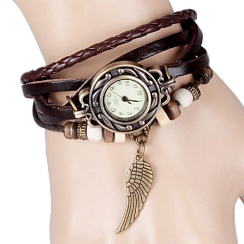 Wing Design Round Dial and Leather Quartz Watch Band for Women