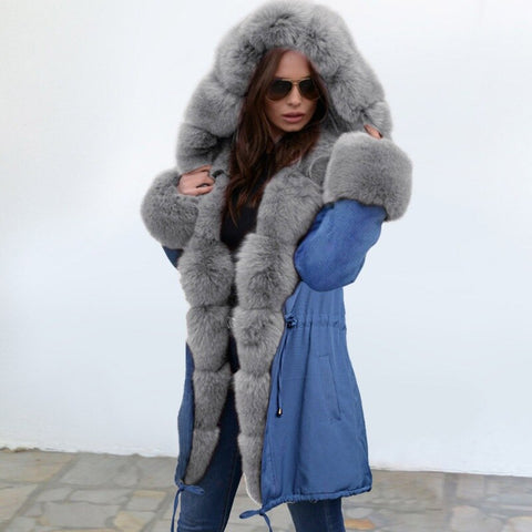 Warm Parka Winter Jacket Fox Fur Liner Thick Collar Hood Women Coat