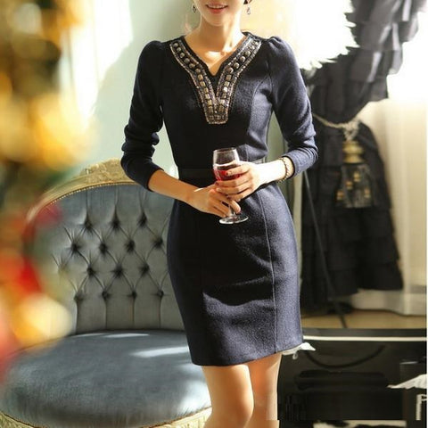 Winter Fashion Bodycon Slim Formal Business Dark Blue Dress (without belt)