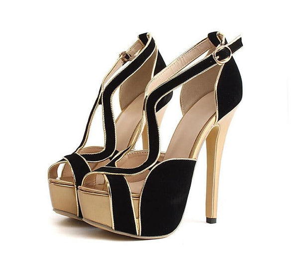Woman High Stiletto Heel Patform Sexy Shoes Peep Toe Suede Shoes