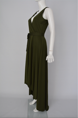 Women Army Green Elegant Deep V Neck Belt Her Fashion Evening Dress