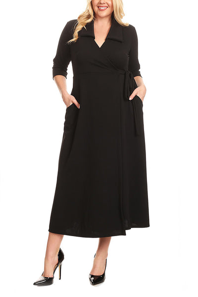 d8ae9cc8001 Women BIG n MOD Black Collared Plus Size Tie Side Wrap Dress –  HisandHerFashion.com