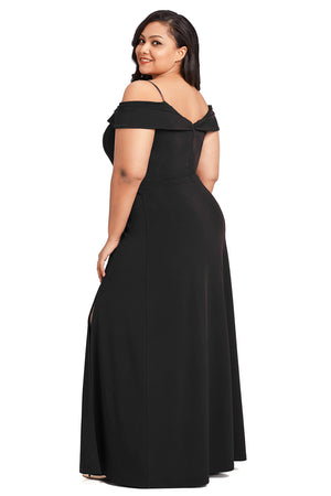 Women BIG'n'MOD Black Long Off the Shoulder Plus Size Gown