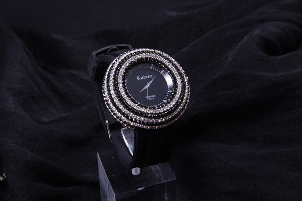 """Impression Series"" Boutique Full Rhinestone with Leather Watchband Quartz Dial Watch"