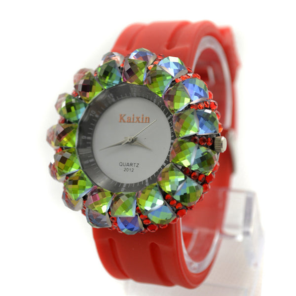 """Chic Series"" Boutique Full Rhinestone with Leather Watchband Quartz Dial Watch"