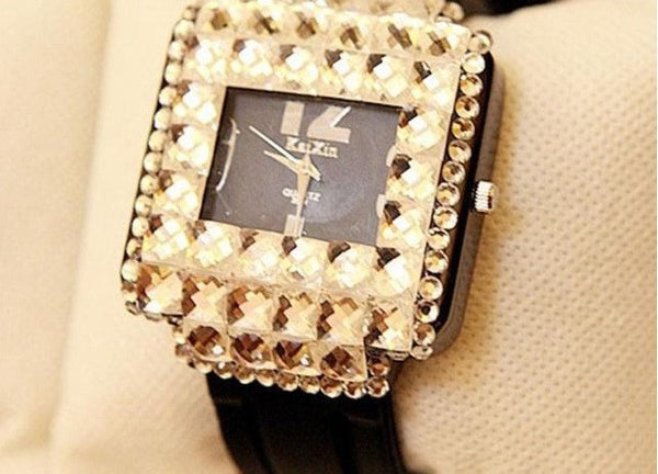 """Impression Series""  Boutique Full Rhinestone Dial with Leather Watchband Quartz Watch"