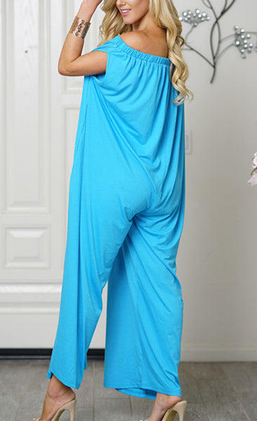 Women Cotton Trendy Off Shoulder Jumpsuit Blue