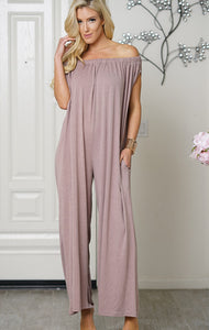 Women Cotton Trendy Off Shoulder Jumpsuit Brown