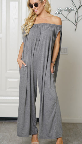 Women Cotton Trendy Off Shoulder Jumpsuit Grey