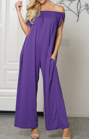 Women Cotton Trendy Off Shoulder Jumpsuit Purple