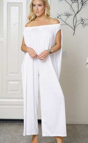 Women Cotton Trendy Off Shoulder Jumpsuit White