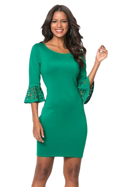 Women Flattering Design Green 3/4 Hollow-out Bell Sleeve Sheath Mini Dress