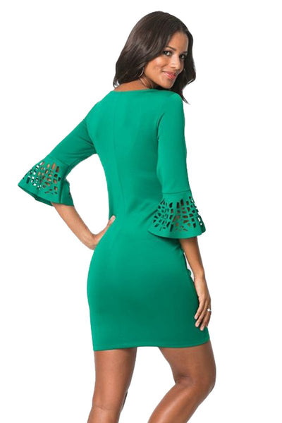 Women Flattering Design Red 3/4 Hollow-out Bell Sleeve Sheath Mini Dress