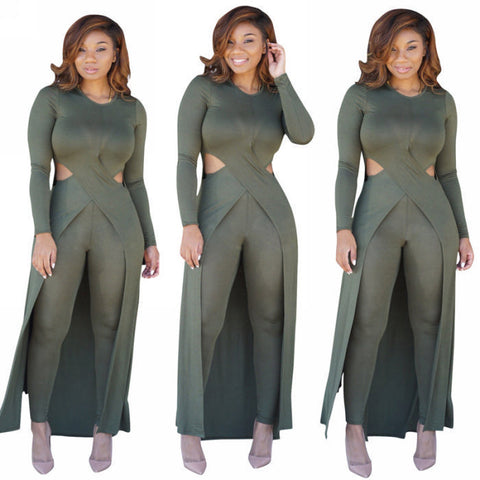 Women 2pcs Suit Long Cardigan Cover up Legging Pants Trendy Set