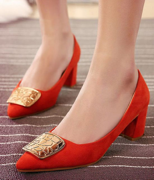 Women Shoes Low Heel  Metal Buckle Her Trendy Fashion