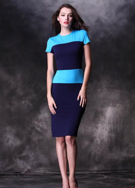 Patchwork Career Contrast Stripe Zipper Back Pencil Bodycon KneeLength Dress