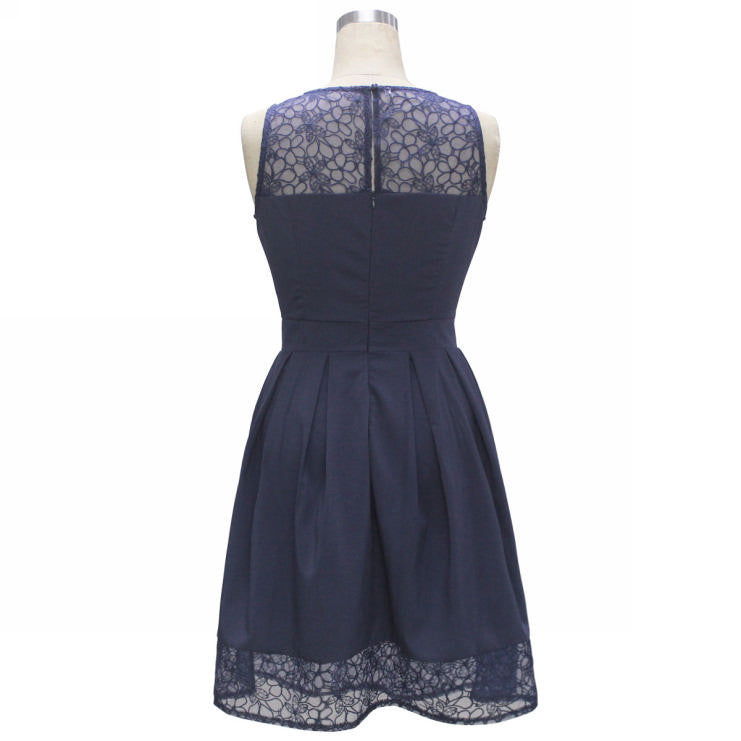 Women's Lace Dress Her Sleeveless Vestidos Roupas Femininas Slim Patchwork Dress