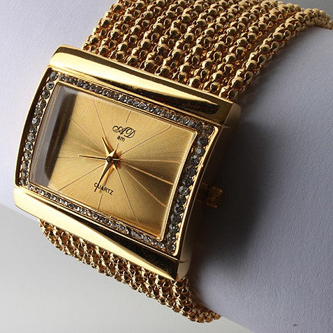 Women's Luxury Diamond Square Golden Dial & Band  Bracelet Style Quartz Wrist Watch